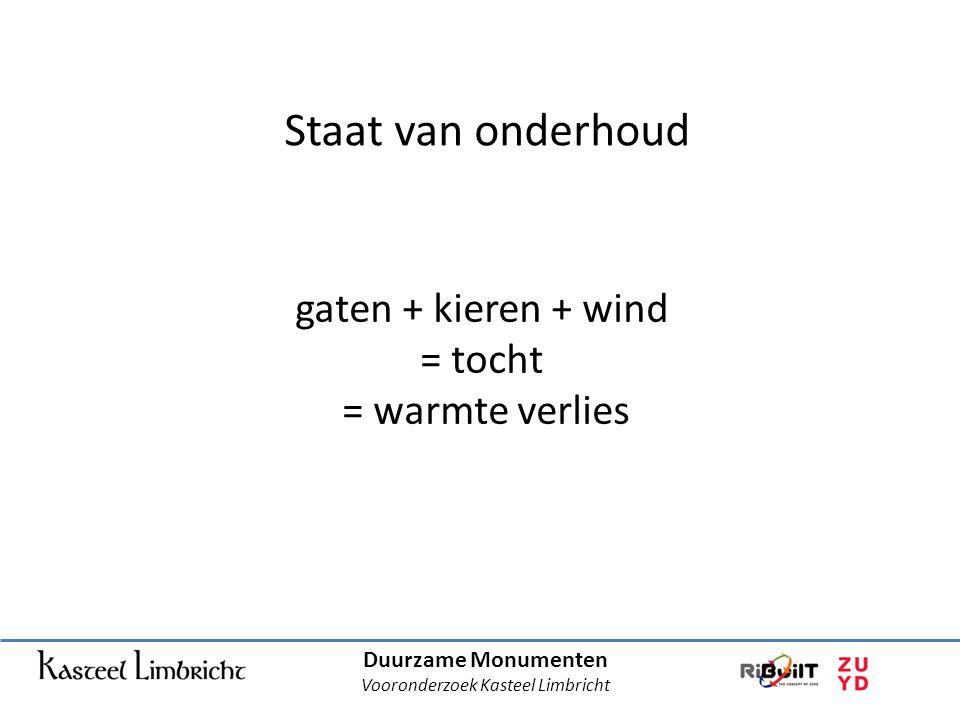 Duurzame Monumenten Vooronderzoek Kasteel Limbricht Staat van onderhoud gaten + kieren + wind = tocht = warmte verlies