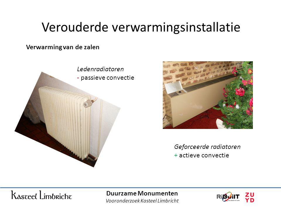 Duurzame Monumenten Vooronderzoek Kasteel Limbricht Verouderde verwarmingsinstallatie Verwarming van de zalen Ledenradiatoren - passieve convectie Geforceerde radiatoren + actieve convectie