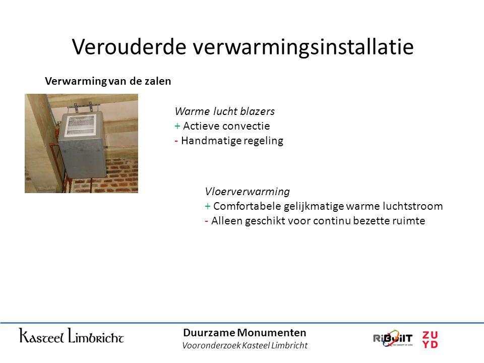 Duurzame Monumenten Vooronderzoek Kasteel Limbricht Verouderde verwarmingsinstallatie Verwarming van de zalen Warme lucht blazers + Actieve convectie - Handmatige regeling Vloerverwarming + Comfortabele gelijkmatige warme luchtstroom - Alleen geschikt voor continu bezette ruimte