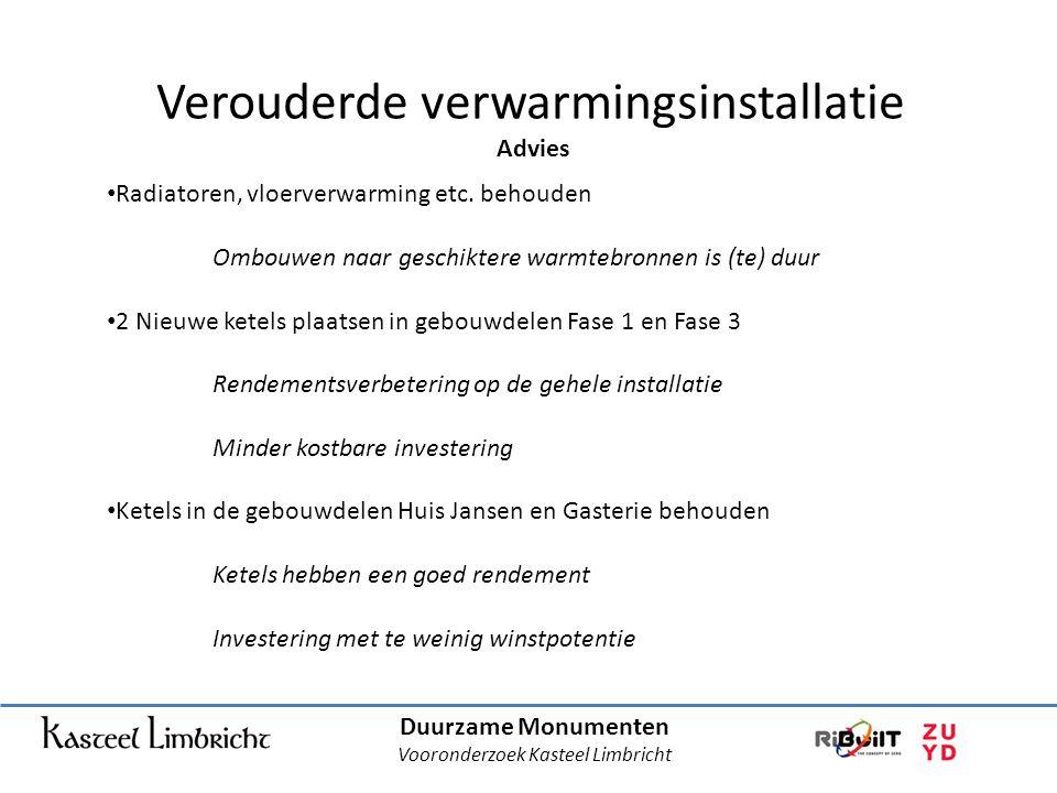 Duurzame Monumenten Vooronderzoek Kasteel Limbricht Verouderde verwarmingsinstallatie Advies • Radiatoren, vloerverwarming etc.
