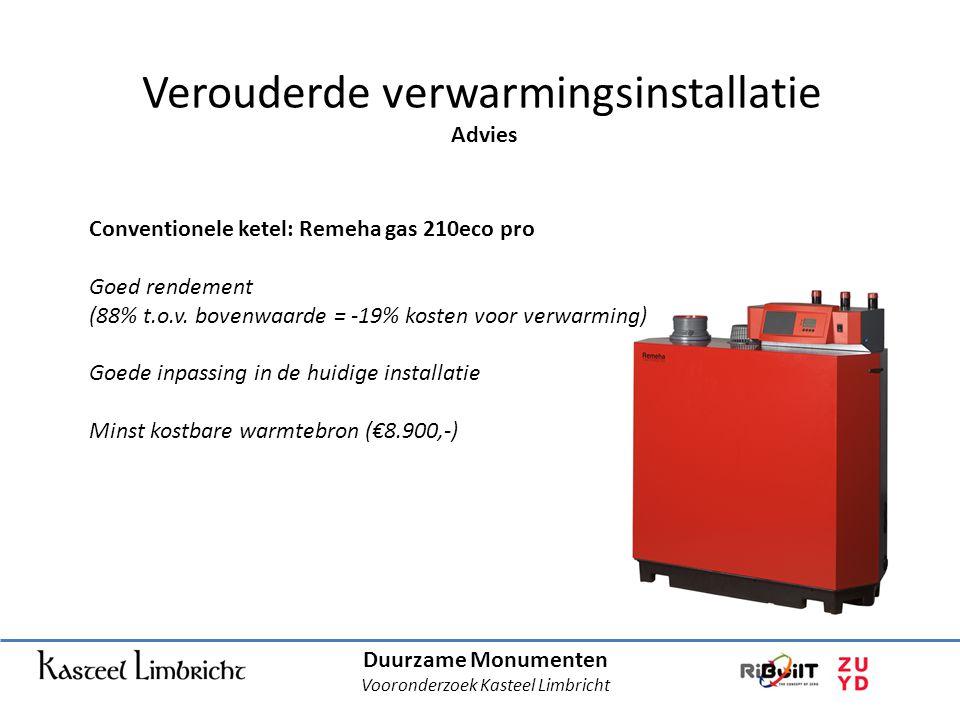 Duurzame Monumenten Vooronderzoek Kasteel Limbricht Verouderde verwarmingsinstallatie Advies Conventionele ketel: Remeha gas 210eco pro Goed rendement (88% t.o.v.