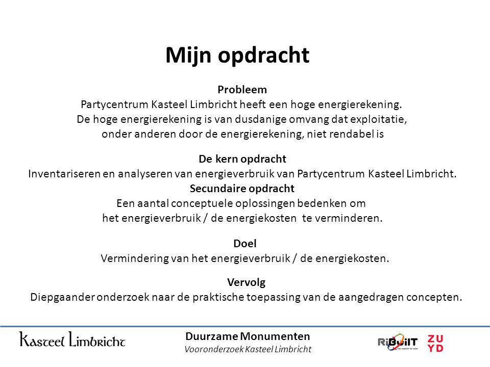 Mijn opdracht Duurzame Monumenten Vooronderzoek Kasteel Limbricht De kern opdracht Inventariseren en analyseren van energieverbruik van Partycentrum Kasteel Limbricht.