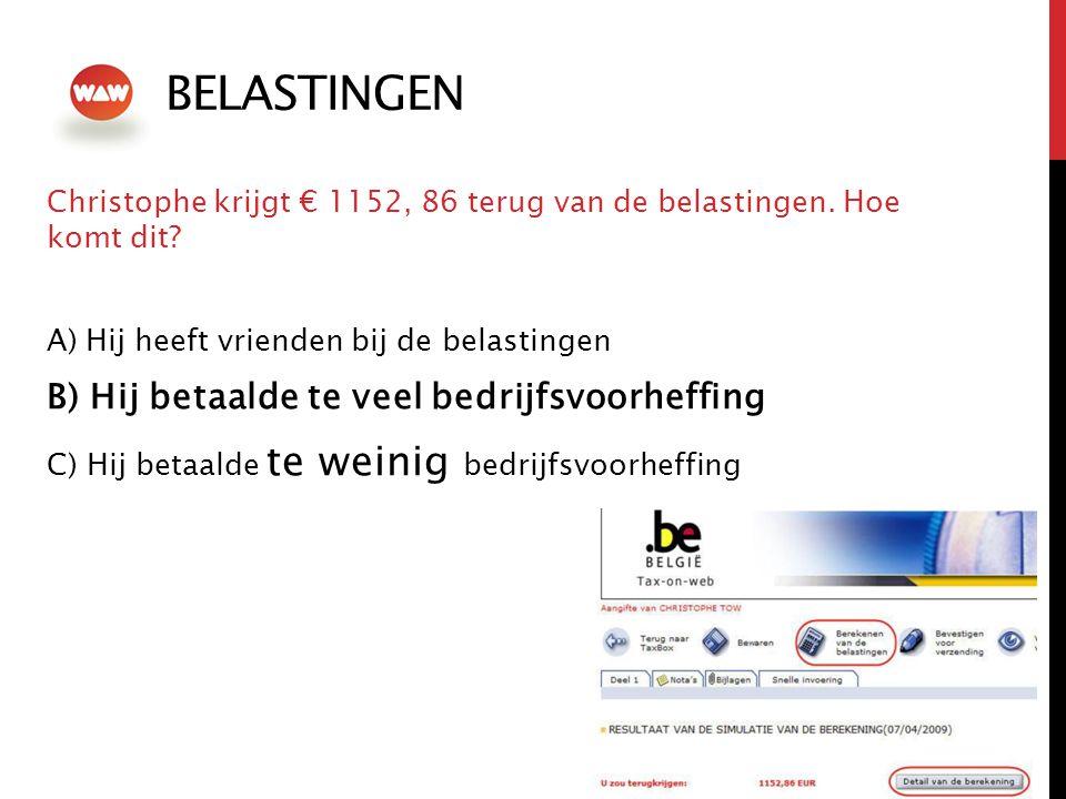 BELASTINGEN Christophe krijgt € 1152, 86 terug van de belastingen.