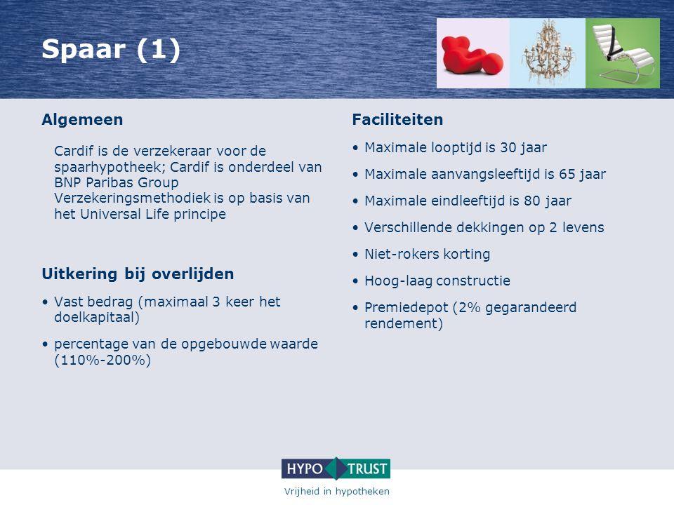 Vrijheid in hypotheken Spaar (1) Algemeen Cardif is de verzekeraar voor de spaarhypotheek; Cardif is onderdeel van BNP Paribas Group Verzekeringsmetho