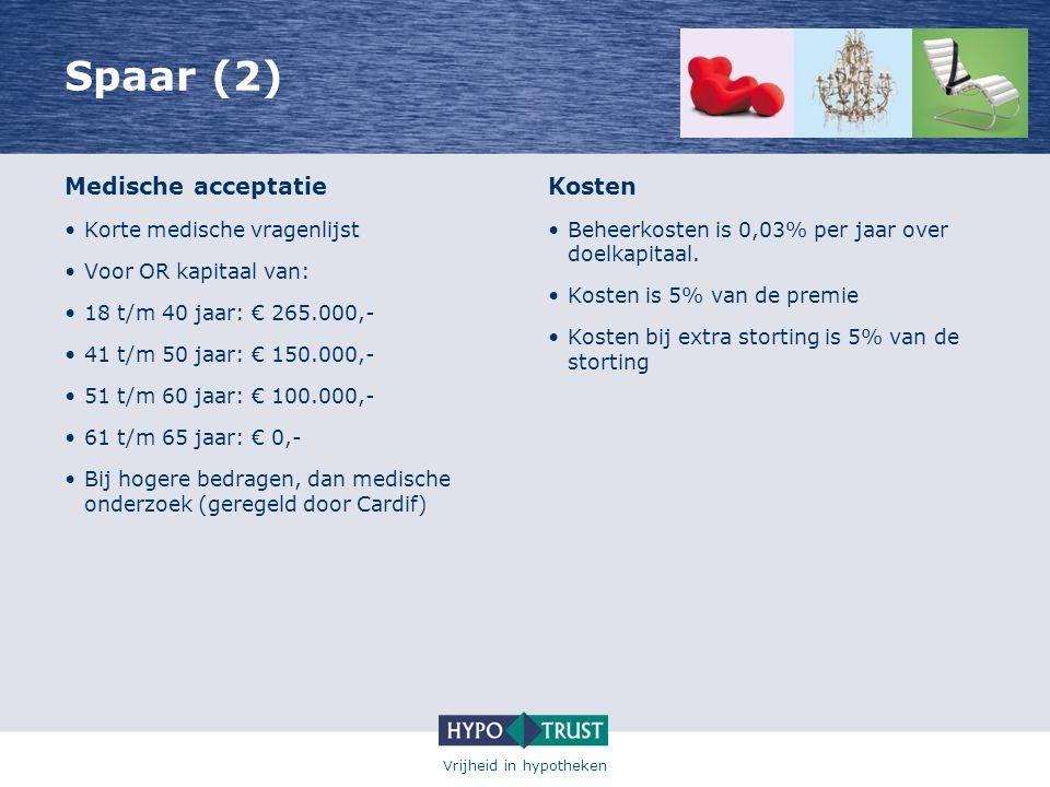 Vrijheid in hypotheken Spaar (2) Medische acceptatie •Korte medische vragenlijst •Voor OR kapitaal van: •18 t/m 40 jaar: € 265.000,- •41 t/m 50 jaar: