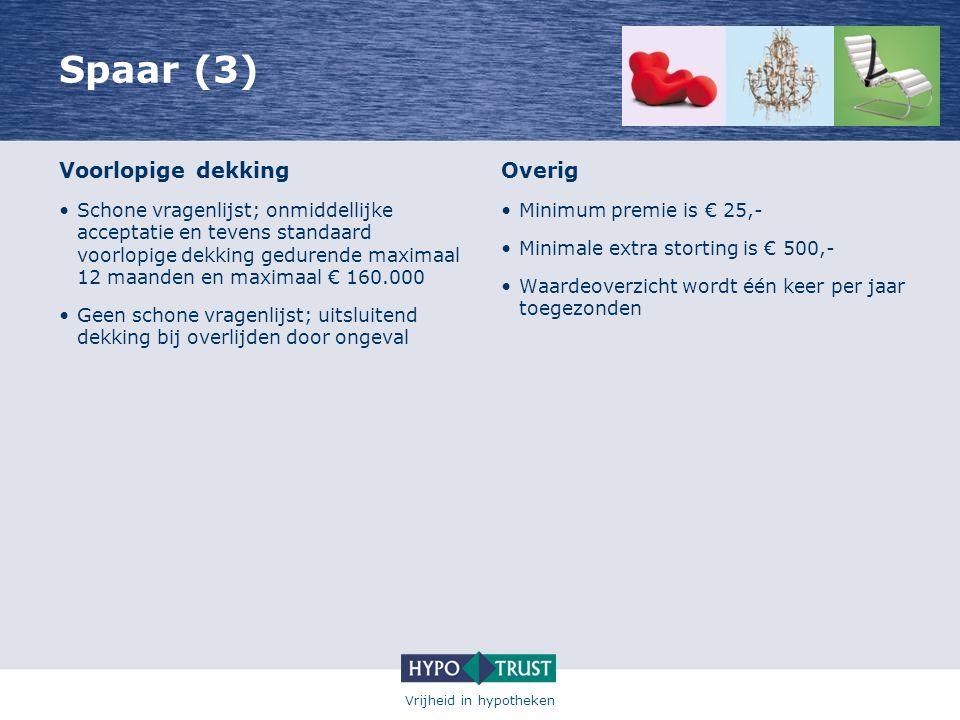 Vrijheid in hypotheken Spaar (3) Voorlopige dekking •Schone vragenlijst; onmiddellijke acceptatie en tevens standaard voorlopige dekking gedurende max