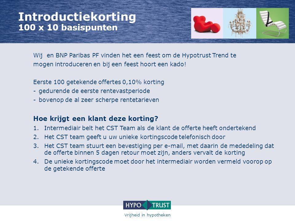 Vrijheid in hypotheken Introductiekorting 100 x 10 basispunten Wij en BNP Paribas PF vinden het een feest om de Hypotrust Trend te mogen introduceren