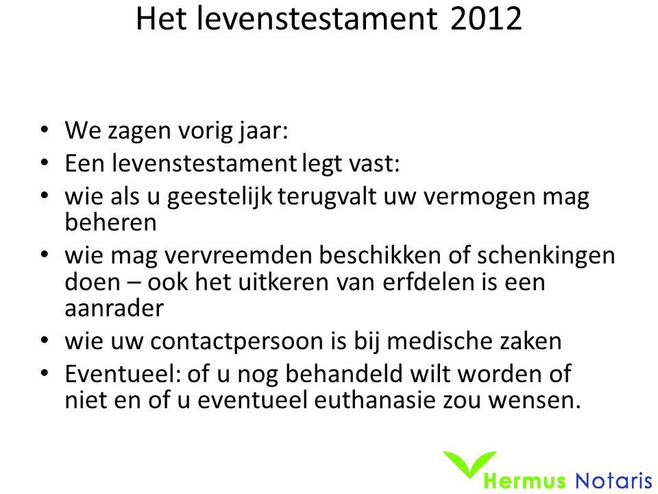 Het levenstestament 2012 • We zagen vorig jaar: • Een levenstestament legt vast: • wie als u geestelijk terugvalt uw vermogen mag beheren • wie mag ve