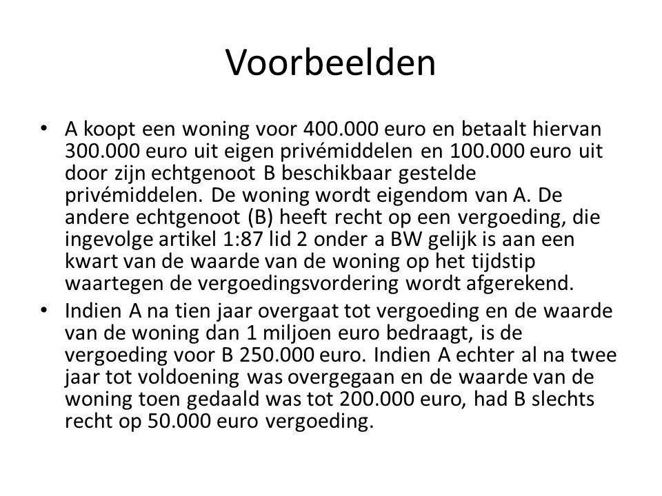 Voorbeelden • A koopt een woning voor 400.000 euro en betaalt hiervan 300.000 euro uit eigen privémiddelen en 100.000 euro uit door zijn echtgenoot B
