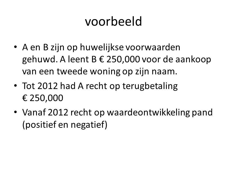 voorbeeld • A en B zijn op huwelijkse voorwaarden gehuwd. A leent B € 250,000 voor de aankoop van een tweede woning op zijn naam. • Tot 2012 had A rec