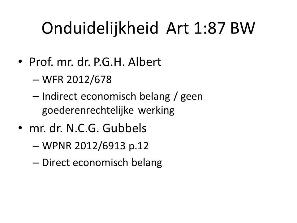 Onduidelijkheid Art 1:87 BW • Prof. mr. dr. P.G.H. Albert – WFR 2012/678 – Indirect economisch belang / geen goederenrechtelijke werking • mr. dr. N.C