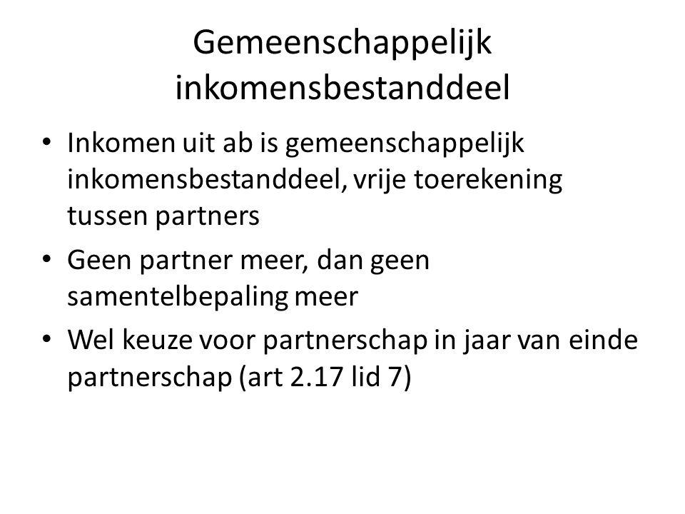 Gemeenschappelijk inkomensbestanddeel • Inkomen uit ab is gemeenschappelijk inkomensbestanddeel, vrije toerekening tussen partners • Geen partner meer, dan geen samentelbepaling meer • Wel keuze voor partnerschap in jaar van einde partnerschap (art 2.17 lid 7)