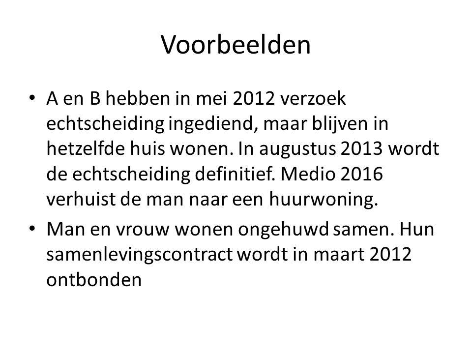 Voorbeelden • A en B hebben in mei 2012 verzoek echtscheiding ingediend, maar blijven in hetzelfde huis wonen. In augustus 2013 wordt de echtscheiding
