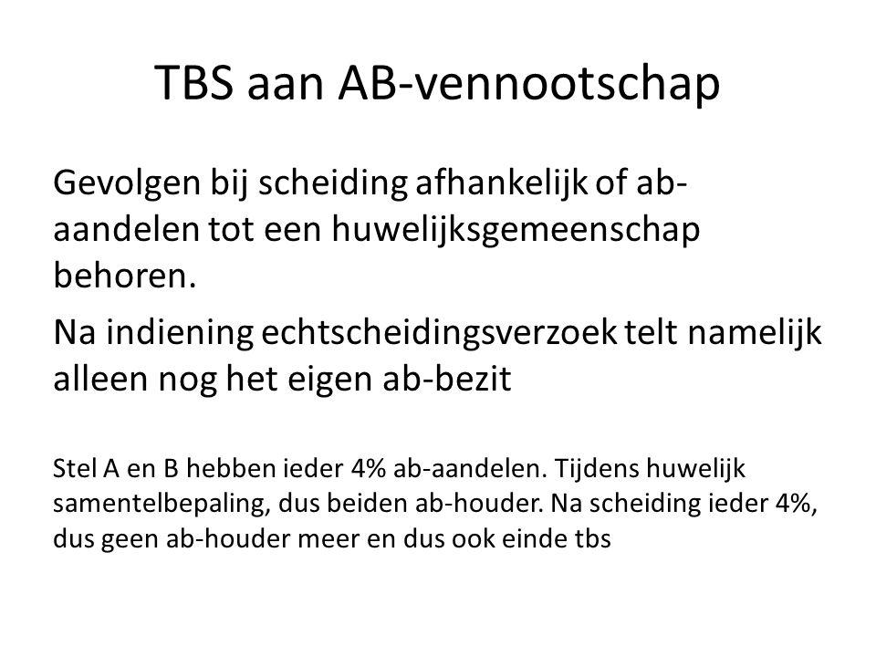 TBS aan AB-vennootschap Gevolgen bij scheiding afhankelijk of ab- aandelen tot een huwelijksgemeenschap behoren. Na indiening echtscheidingsverzoek te