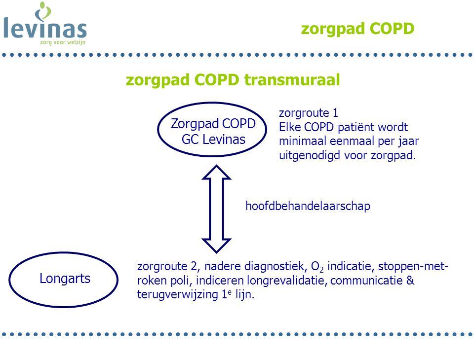 zorgpad COPD Zorgpad COPD GC Levinas Longarts zorgroute 2, nadere diagnostiek, O 2 indicatie, stoppen-met- roken poli, indiceren longrevalidatie, comm