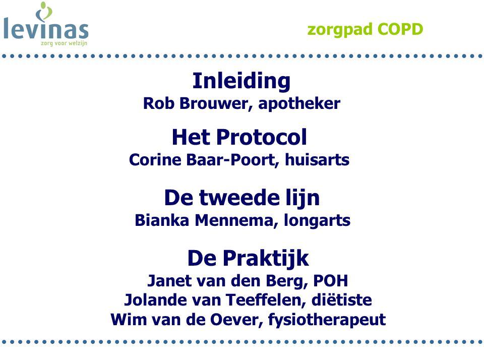 zorgpad COPD Inleiding Rob Brouwer, apotheker Het Protocol Corine Baar-Poort, huisarts De Praktijk Janet van den Berg, POH Jolande van Teeffelen, diët