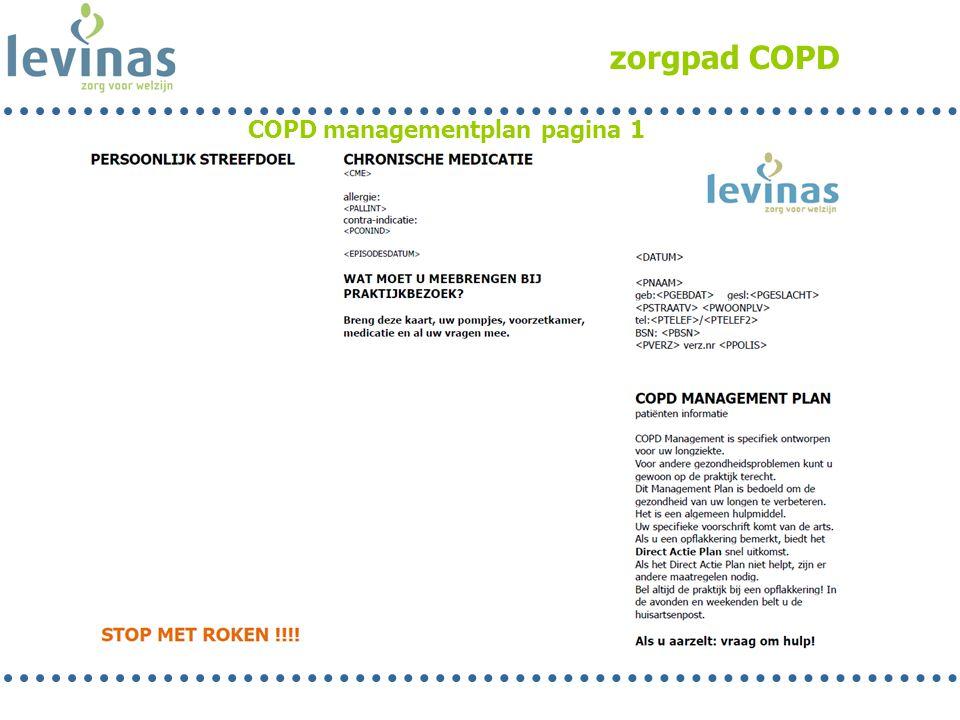 zorgpad COPD COPD managementplan pagina 1