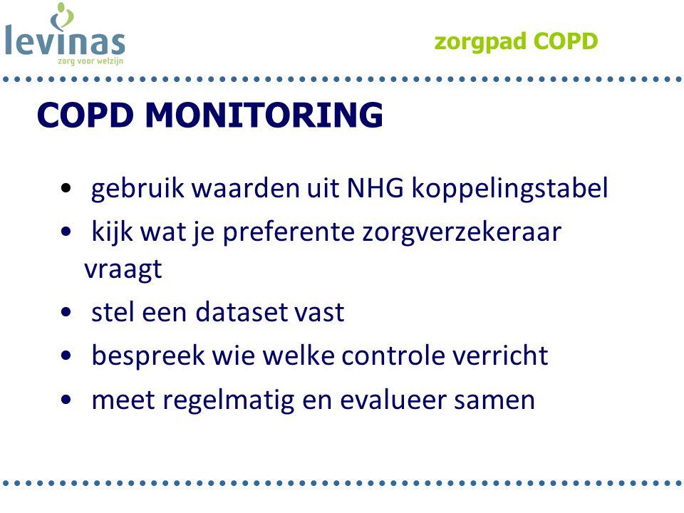 zorgpad COPD • gebruik waarden uit NHG koppelingstabel • kijk wat je preferente zorgverzekeraar vraagt • stel een dataset vast • bespreek wie welke co