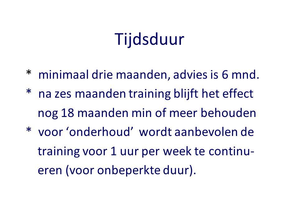 Tijdsduur * minimaal drie maanden, advies is 6 mnd. * na zes maanden training blijft het effect nog 18 maanden min of meer behouden * voor 'onderhoud'