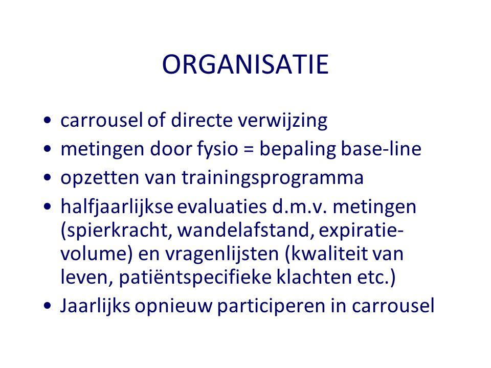 ORGANISATIE •carrousel of directe verwijzing •metingen door fysio = bepaling base-line •opzetten van trainingsprogramma •halfjaarlijkse evaluaties d.m