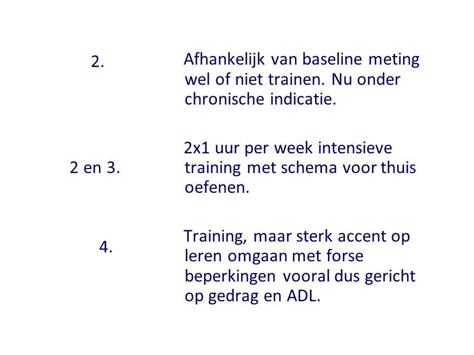 2. 2 en 3. 4. Afhankelijk van baseline meting wel of niet trainen. Nu onder chronische indicatie. 2x1 uur per week intensieve training met schema voor