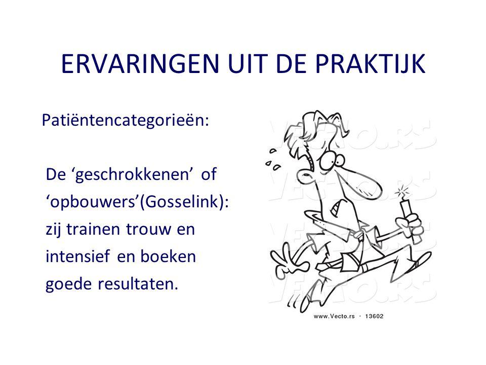 ERVARINGEN UIT DE PRAKTIJK Patiëntencategorieën: De 'geschrokkenen' of 'opbouwers'(Gosselink): zij trainen trouw en intensief en boeken goede resultat