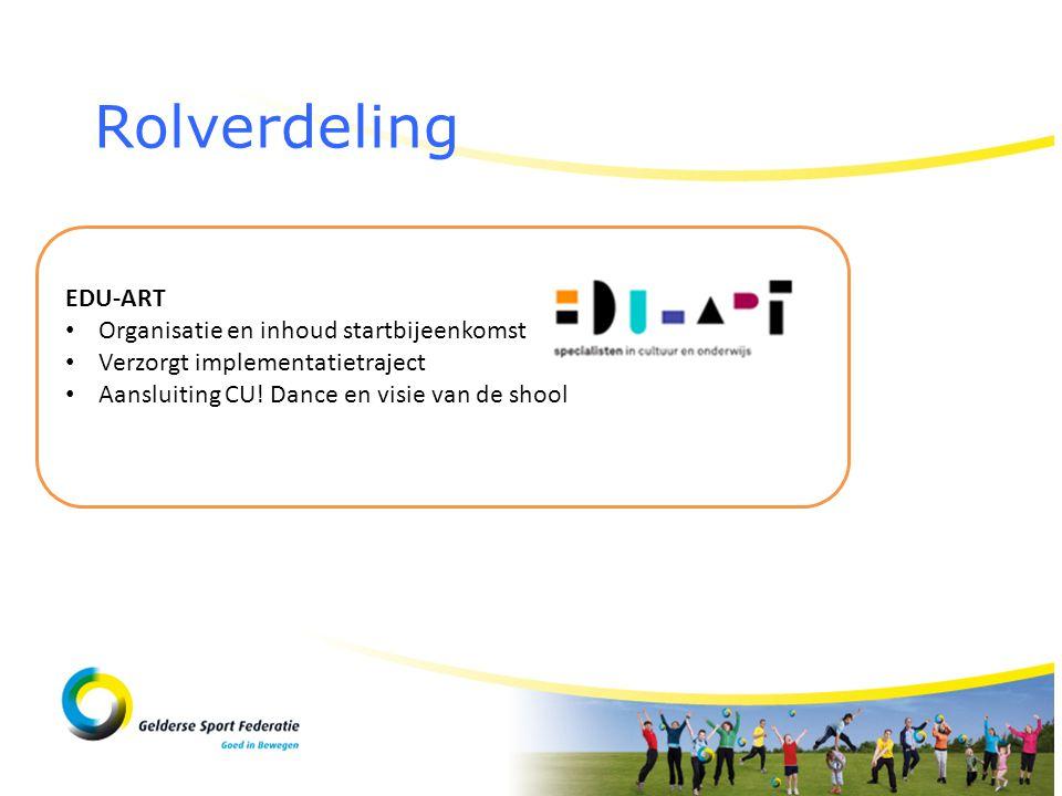 Rolverdeling EDU-ART • Organisatie en inhoud startbijeenkomst • Verzorgt implementatietraject • Aansluiting CU! Dance en visie van de shool