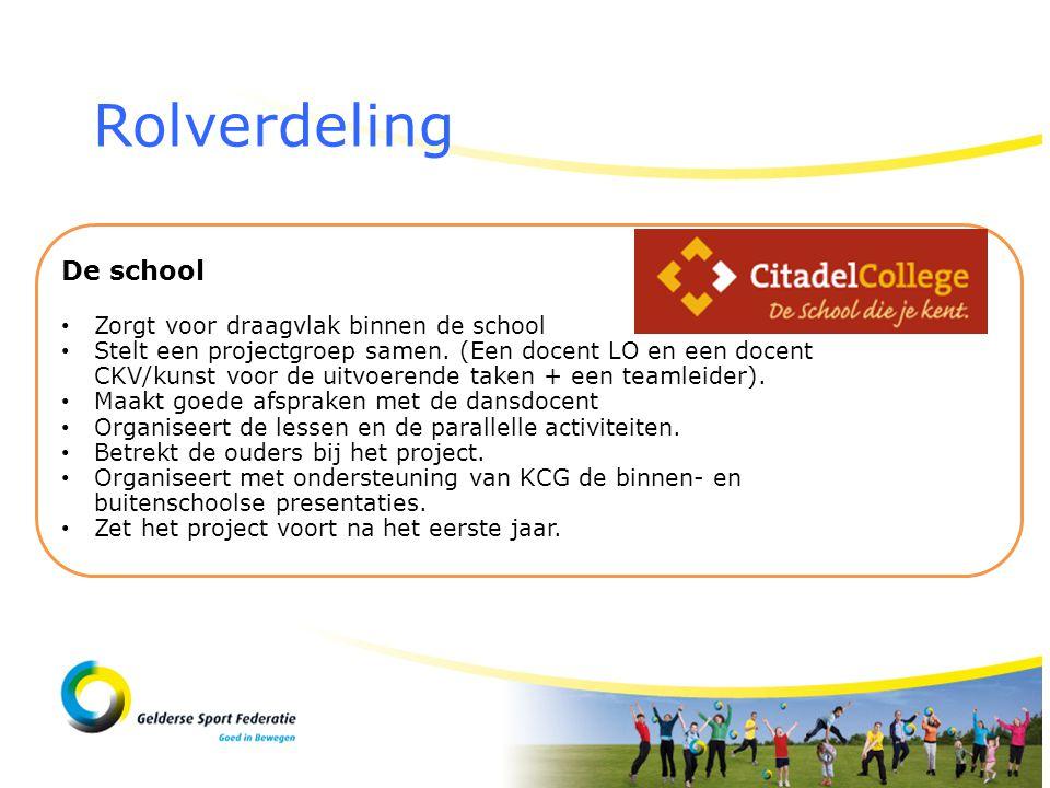 Rolverdeling De school • Zorgt voor draagvlak binnen de school • Stelt een projectgroep samen. (Een docent LO en een docent CKV/kunst voor de uitvoere
