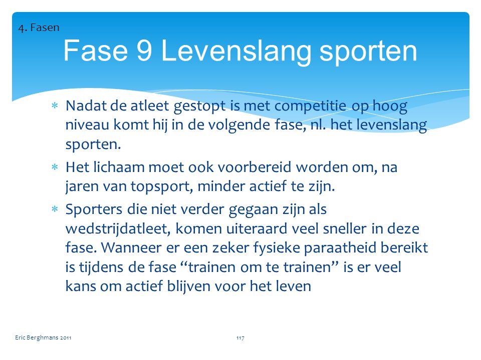  Nadat de atleet gestopt is met competitie op hoog niveau komt hij in de volgende fase, nl.