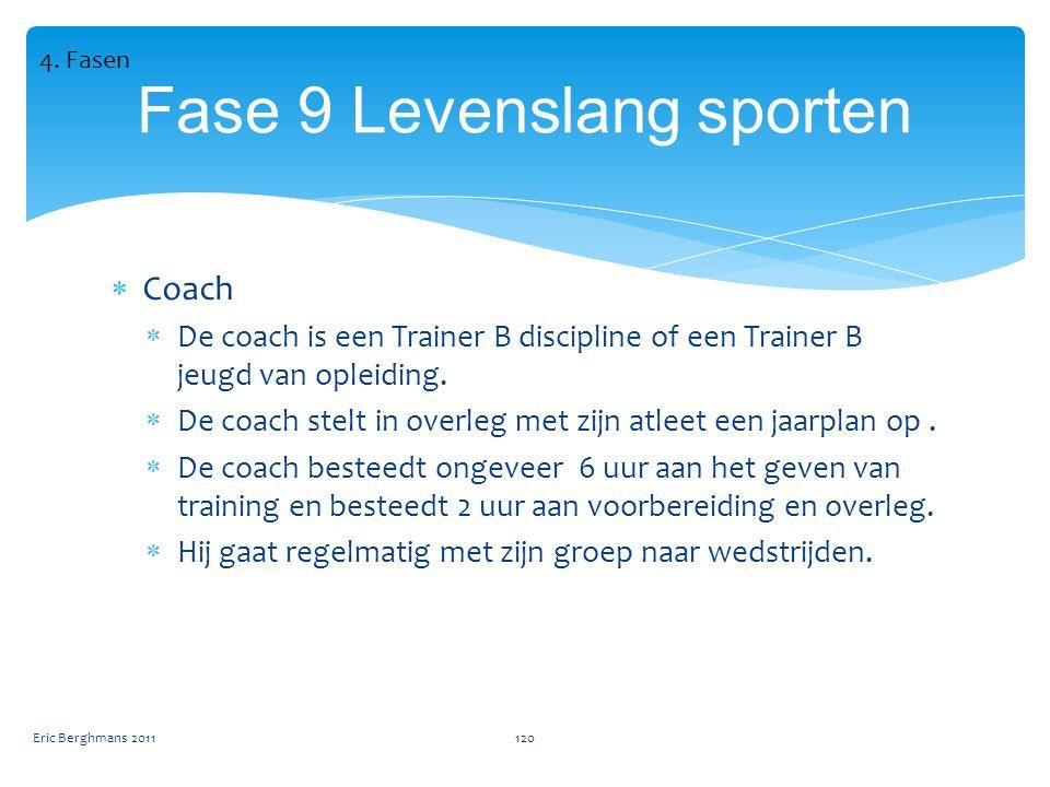  Coach  De coach is een Trainer B discipline of een Trainer B jeugd van opleiding.