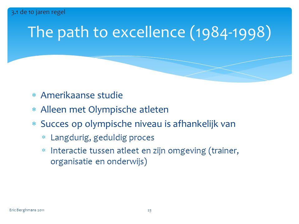  Amerikaanse studie  Alleen met Olympische atleten  Succes op olympische niveau is afhankelijk van  Langdurig, geduldig proces  Interactie tussen atleet en zijn omgeving (trainer, organisatie en onderwijs) The path to excellence (1984-1998) Eric Berghmans 201123 3.1 de 10 jaren regel