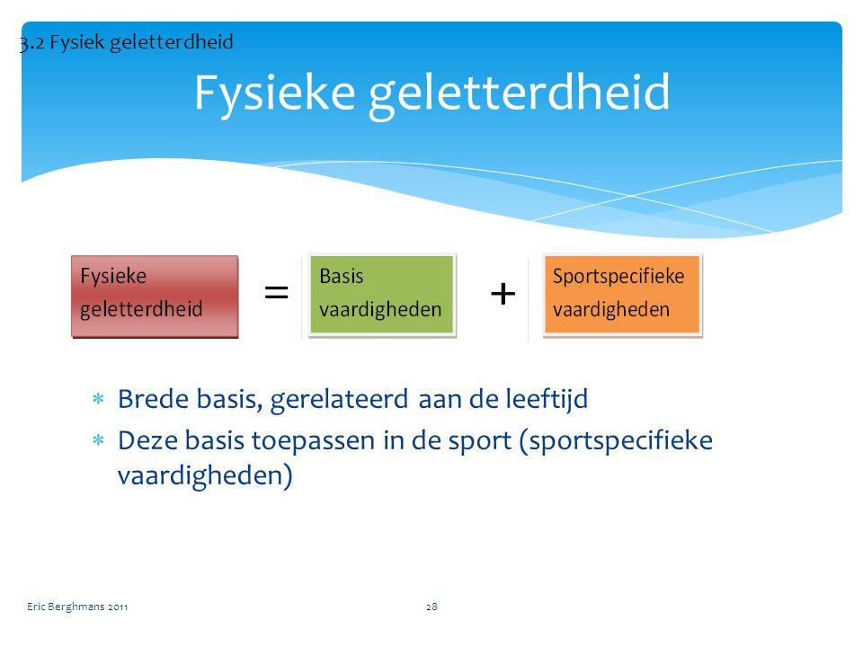  Brede basis, gerelateerd aan de leeftijd  Deze basis toepassen in de sport (sportspecifieke vaardigheden) Eric Berghmans 201128 Fysieke geletterdheid 3.2 Fysiek geletterdheid