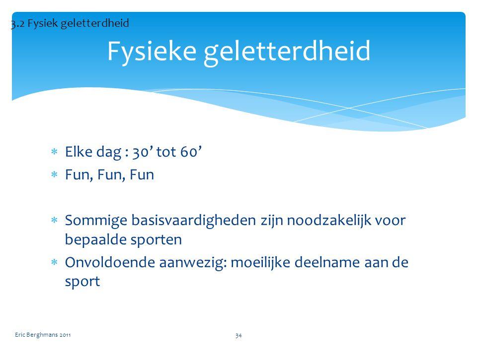  Elke dag : 30' tot 60'  Fun, Fun, Fun  Sommige basisvaardigheden zijn noodzakelijk voor bepaalde sporten  Onvoldoende aanwezig: moeilijke deelname aan de sport Eric Berghmans 201134 Fysieke geletterdheid 3.2 Fysiek geletterdheid