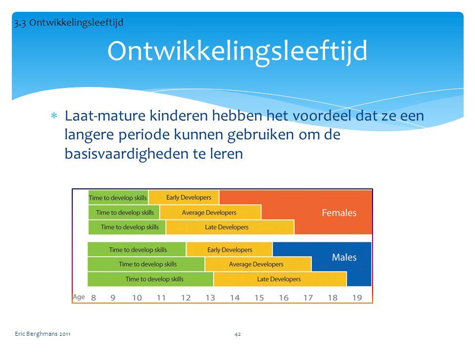  Laat-mature kinderen hebben het voordeel dat ze een langere periode kunnen gebruiken om de basisvaardigheden te leren Eric Berghmans 201142 Ontwikkelingsleeftijd 3.3 Ontwikkelingsleeftijd