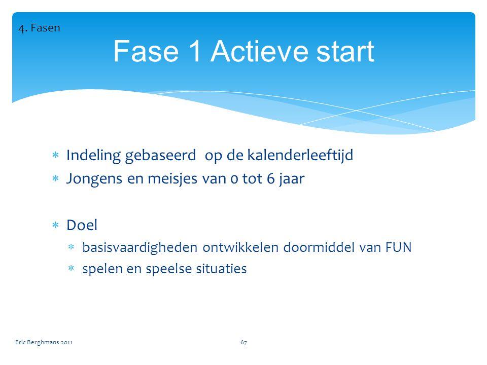  Indeling gebaseerd op de kalenderleeftijd  Jongens en meisjes van 0 tot 6 jaar  Doel  basisvaardigheden ontwikkelen doormiddel van FUN  spelen en speelse situaties Eric Berghmans 201167 Fase 1 Actieve start 4.
