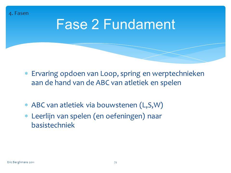  Ervaring opdoen van Loop, spring en werptechnieken aan de hand van de ABC van atletiek en spelen  ABC van atletiek via bouwstenen (L,S,W)  Leerlijn van spelen (en oefeningen) naar basistechniek Eric Berghmans 201172 Fase 2 Fundament 4.