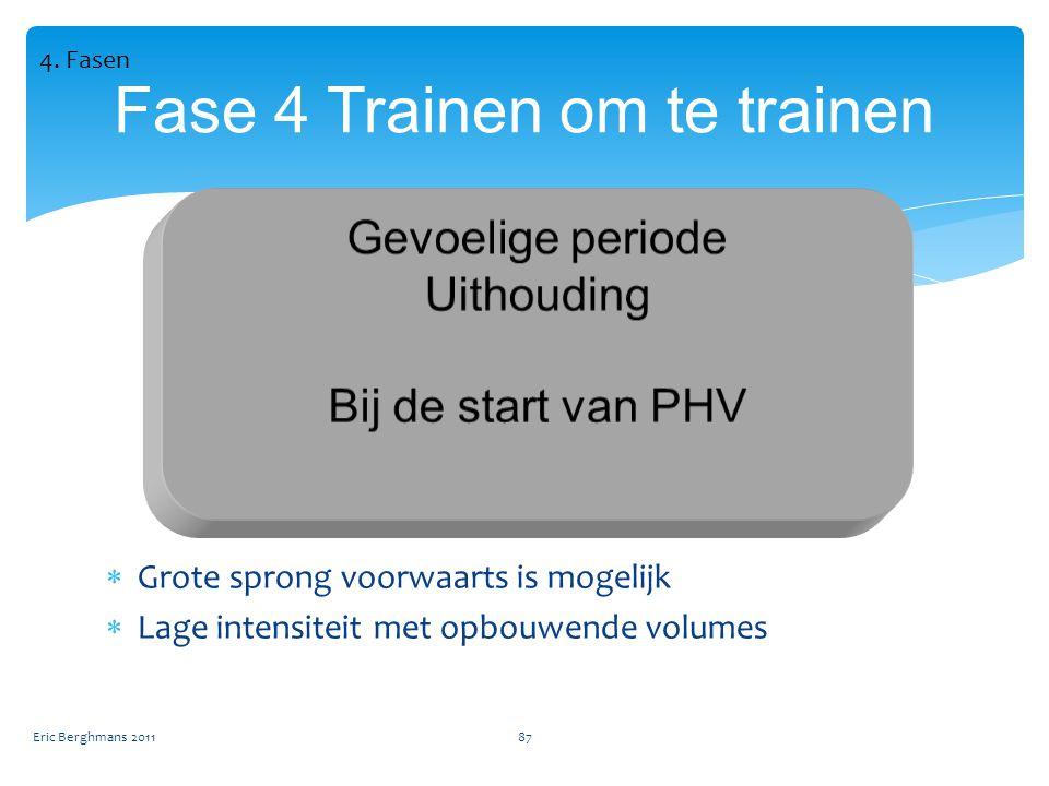Eric Berghmans 201187 Fase 4 Trainen om te trainen  Grote sprong voorwaarts is mogelijk  Lage intensiteit met opbouwende volumes 4.