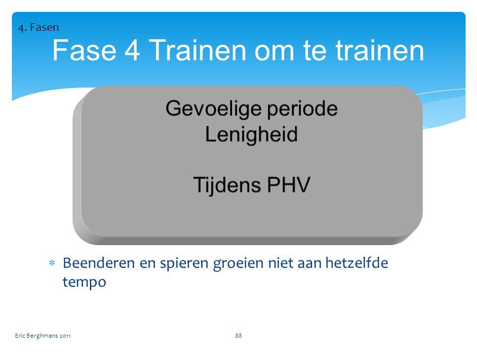 Eric Berghmans 201188 Fase 4 Trainen om te trainen  Beenderen en spieren groeien niet aan hetzelfde tempo 4.