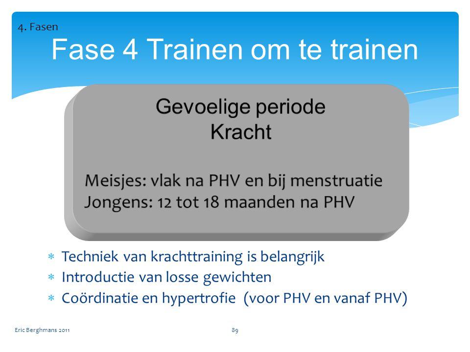 Eric Berghmans 201189 Fase 4 Trainen om te trainen  Techniek van krachttraining is belangrijk  Introductie van losse gewichten  Coördinatie en hypertrofie (voor PHV en vanaf PHV) 4.