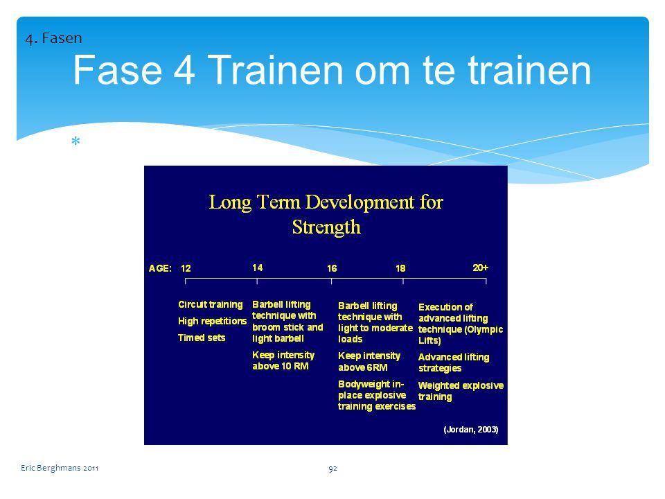  Eric Berghmans 201192 Fase 4 Trainen om te trainen 4. Fasen