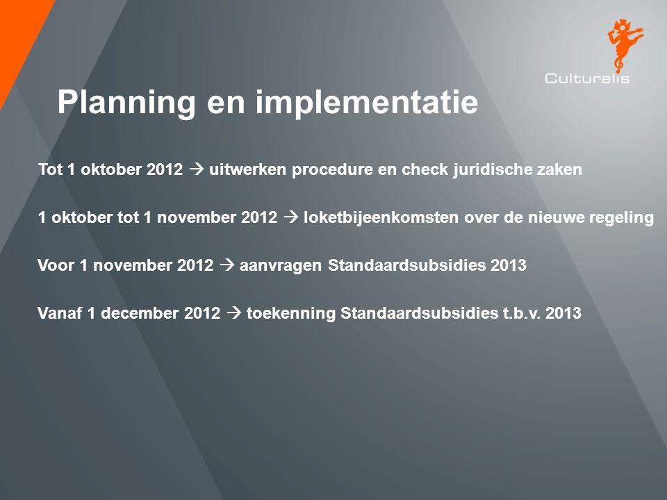 Planning en implementatie Tot 1 oktober 2012  uitwerken procedure en check juridische zaken 1 oktober tot 1 november 2012  loketbijeenkomsten over d