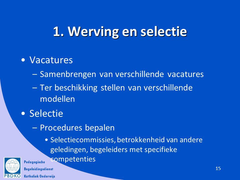 Pedagogische Begeleidingsdienst Katholiek Onderwijs 1. Werving en selectie •Vacatures –Samenbrengen van verschillende vacatures –Ter beschikking stell