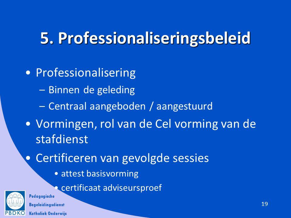 Pedagogische Begeleidingsdienst Katholiek Onderwijs 5. Professionaliseringsbeleid •Professionalisering –Binnen de geleding –Centraal aangeboden / aang