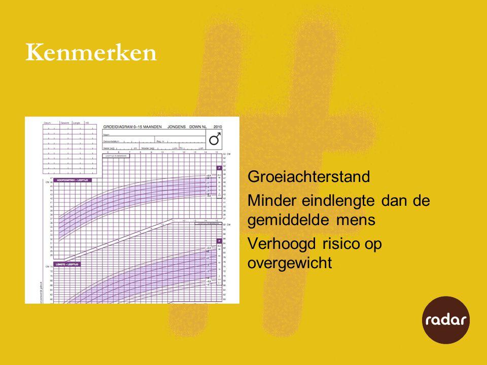 Kenmerken Groeiachterstand Minder eindlengte dan de gemiddelde mens Verhoogd risico op overgewicht