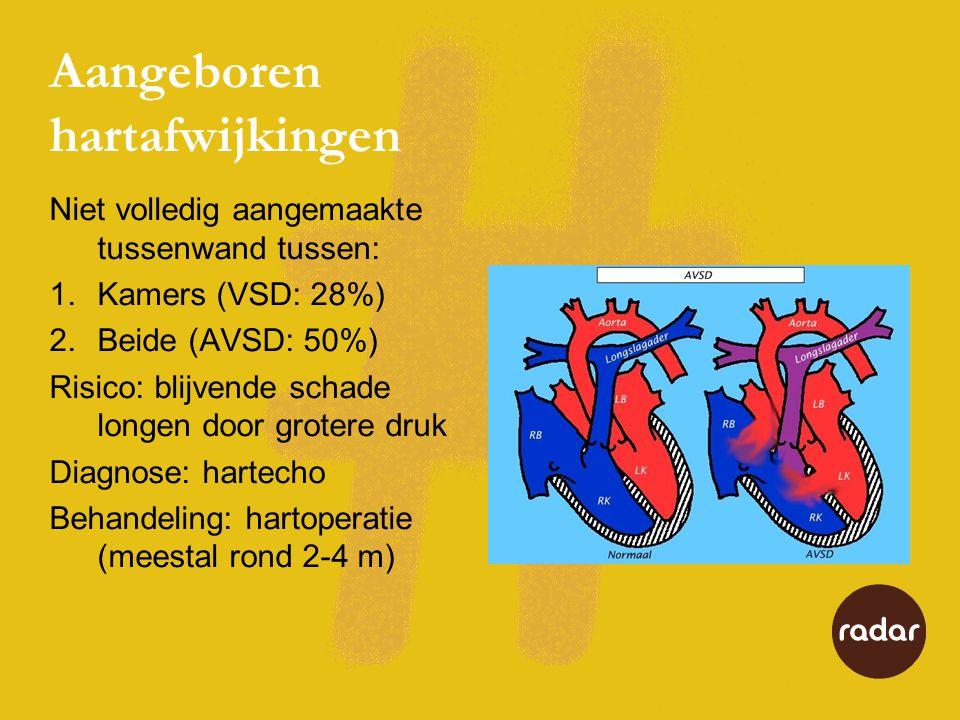Aangeboren hartafwijkingen Niet volledig aangemaakte tussenwand tussen: 1.Kamers (VSD: 28%) 2.Beide (AVSD: 50%) Risico: blijvende schade longen door grotere druk Diagnose: hartecho Behandeling: hartoperatie (meestal rond 2-4 m)