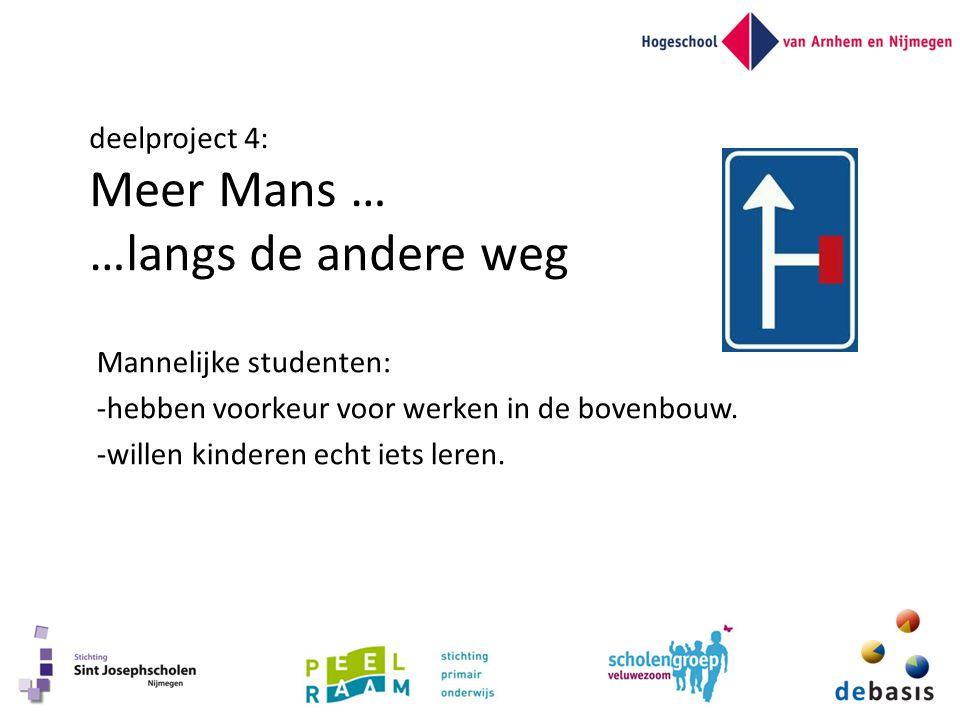 deelproject 4: Meer Mans … …langs de andere weg Mannelijke studenten: -hebben voorkeur voor werken in de bovenbouw. -willen kinderen echt iets leren.