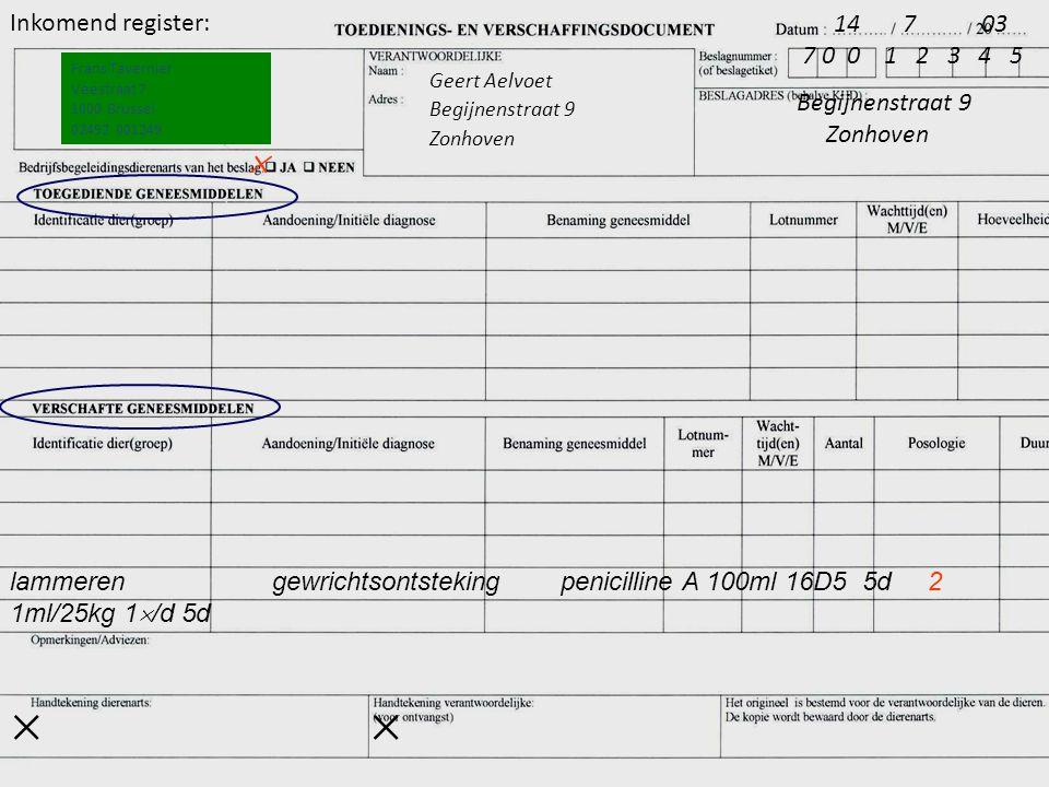 lammeren gewrichtsontsteking penicilline A 100ml 16D5 5d 2 1ml/25kg 1  /d 5d Frans Tavernier Veestraat 7 1000 Brussel 02492 001249 Geert Aelvoet Begi