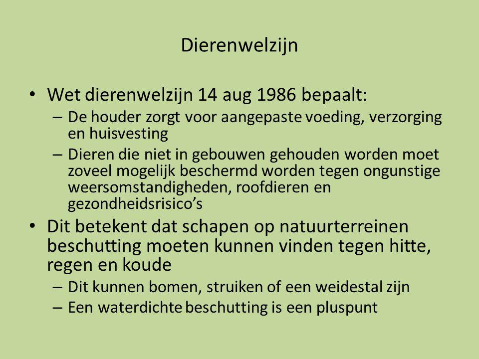 Dierenwelzijn • Wet dierenwelzijn 14 aug 1986 bepaalt: – De houder zorgt voor aangepaste voeding, verzorging en huisvesting – Dieren die niet in gebou
