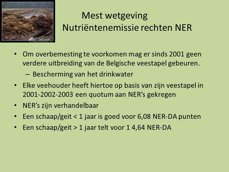 Mest wetgeving Nutriëntenemissie rechten NER • Om overbemesting te voorkomen mag er sinds 2001 geen verdere uitbreiding van de Belgische veestapel geb