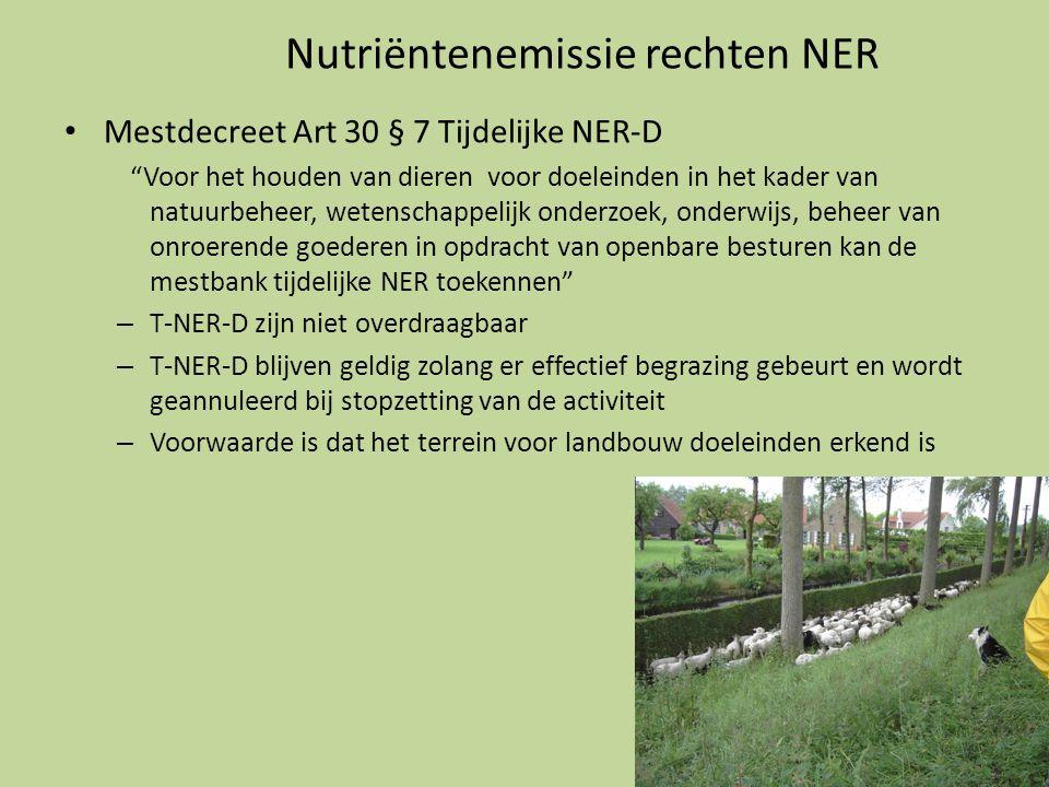"""Nutriëntenemissie rechten NER • Mestdecreet Art 30 § 7 Tijdelijke NER-D """"Voor het houden van dieren voor doeleinden in het kader van natuurbeheer, wet"""